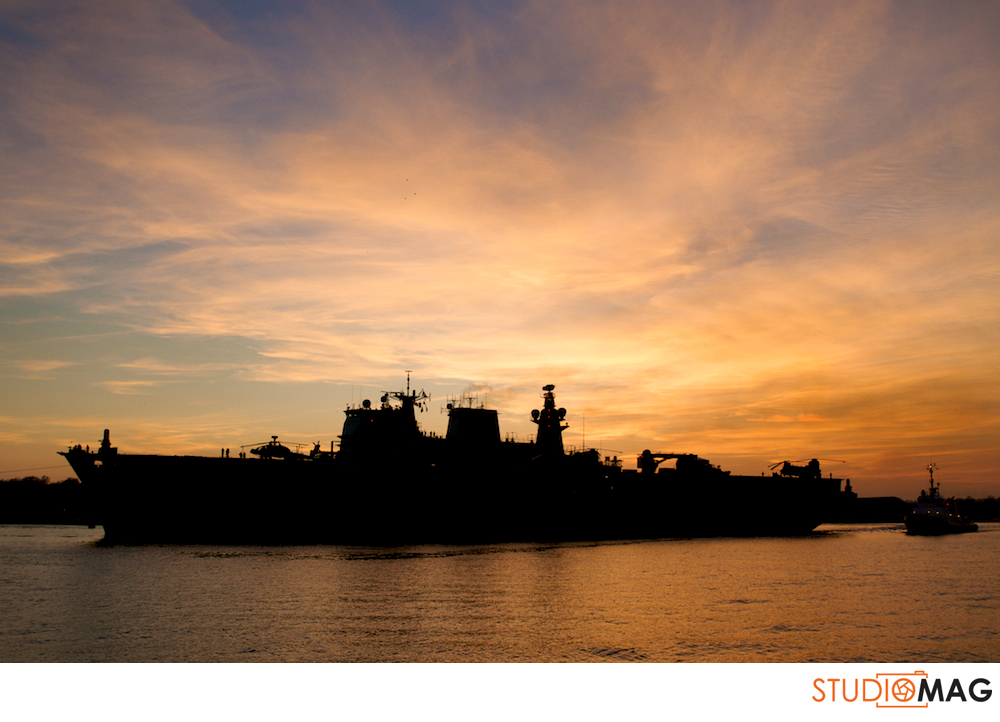navy ship and sunset from Royal William Yard